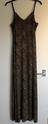 Stunnin Ladies Mara Covolato Collections Gold&Black Glitter Evenin Dress-Size 10 Mara Collection