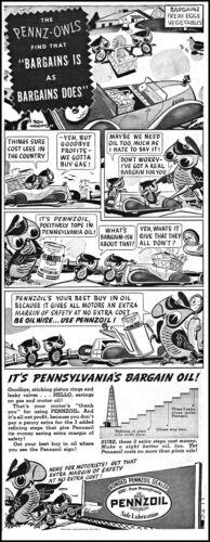 1938 Pennzoil motor Oil Pennz-Owls grocery shoppers vintage art print ad L50