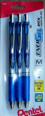 Pentel Energel Rtx Retractable Gel Pens 0.3 Mm Point Blue Ink 3pack