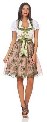 Strass Tüll (Dirndl Damen Strass Tüll Spitzenschürze Midi Kleid Oktoberfest Tracht rosa grün)
