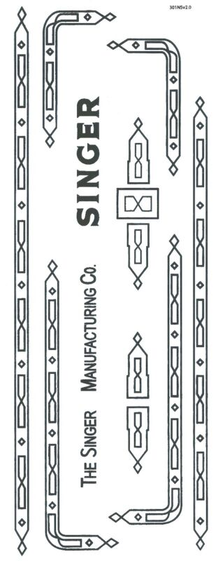 Singer 301 Sewing Machine Restoration Decals Black Ink  Prism Style