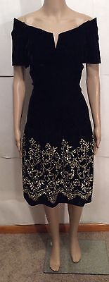 Eighties Vintage Black Velvet Dress w/ Gold Detail by Scott McClintock Sz. S