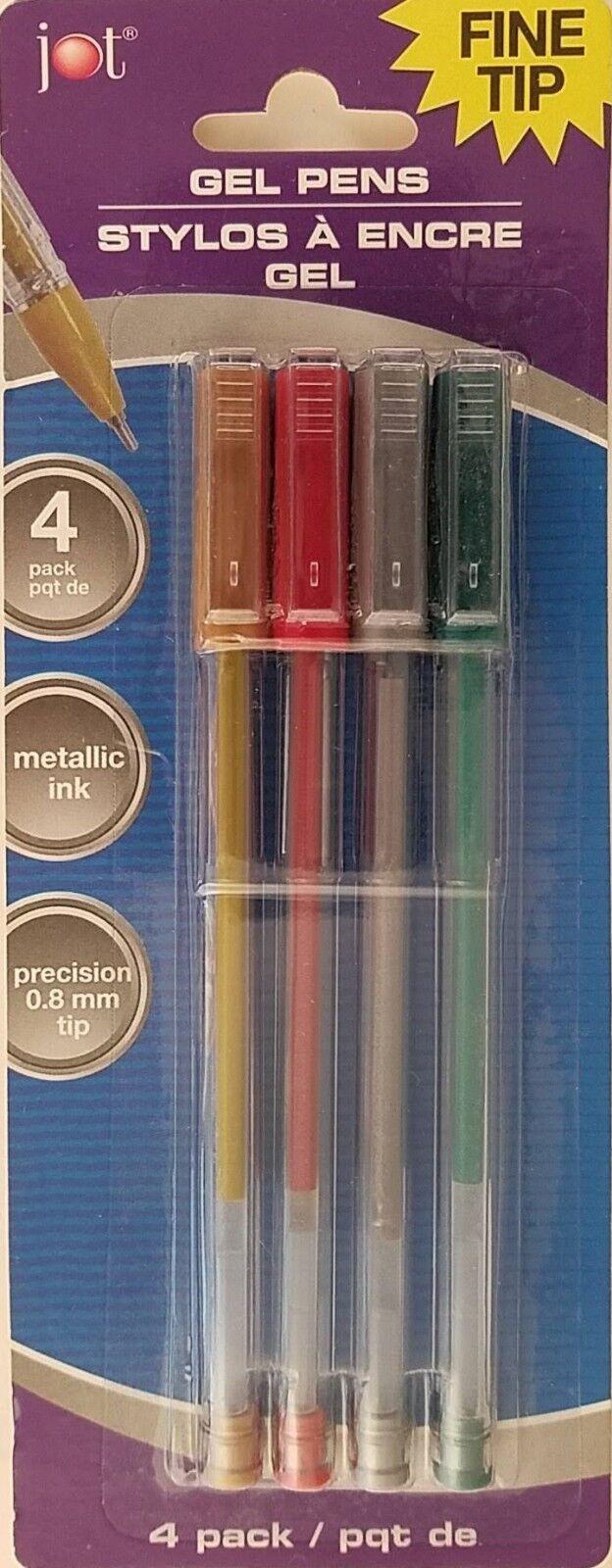 Jot Metallic Gel Pens Fine Tip 0.8 mm Gold Silver Red Green