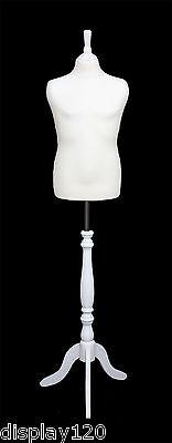 Deluxe Niños 10/12 Sastre Maniquí Costura Pantalla Blanco Busto Soporte