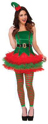 Sexy Sassy Santa's Elf Adult Costume Christmas Outfit Adult Women Tutu Red Green ()