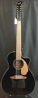 Fender Villager 12-String V3 Acoustic-Electric Cutaway Guitar Gloss Black w/ Bag