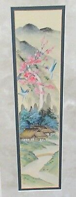 CHIGO CHINESE BLUE BIRDS AND PINK BLOSSOMS ORIGINAL WATERCOLOR PAINTING SIGNED