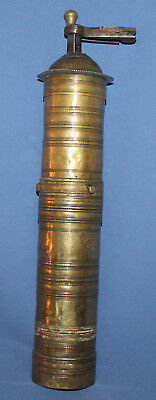 19c Old-fashioned Turkish Ottoman brass coffee grinder mill