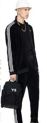Adidas Velvet Full Tracksuit Black Velour Cozy Small