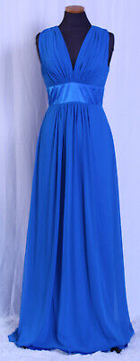 AFTER SIX CERULEAN BLUE LUX CHIFFON MATTE SATIN BRIDESMAID FORMAL GOWN DRESS 6 After Six Satin Bridesmaid Dress