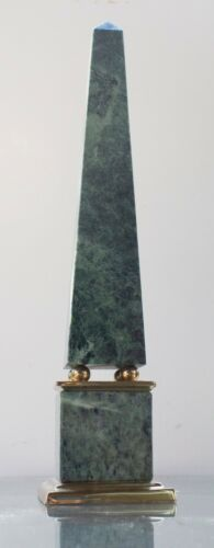 Vintage Green Marble Lacquered Brass Obelisk Decorative Crafts Inc. 15.5 in