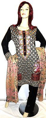 Shalwar kameez black salwar pakistani designer stitched sari abaya suit uk 20