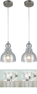2 Kitchen Pendant Hanging Lights Fixture Industrial Glass Island Brushed