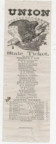1860s California Union State Ticket Frederick Low for Governor Eagle & Flags