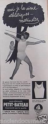 PUBLICITÉ 1955 SOUS VÊTEMENTS PETIT BATEAU JE LES AIME ATHLETIQUES - ADVERTISING