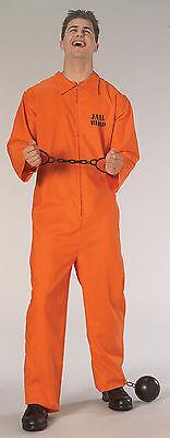 Men's Jail Bird Orange Prison Jumpsuit Costume Convict Prisoner Adult - Jail Bird Costumes