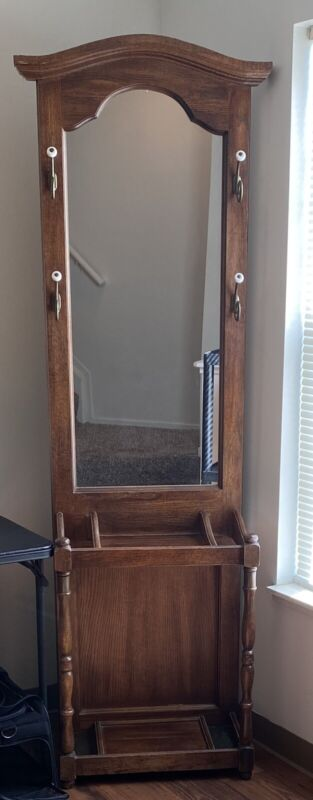 Antique Hall Coat And Umbrella Stand With Mirror
