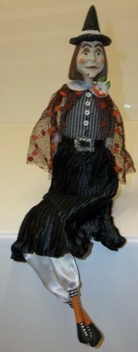 "Vintage Style Halloween Witch Doll 17"" Shelf Sitter Decoration by CJF"