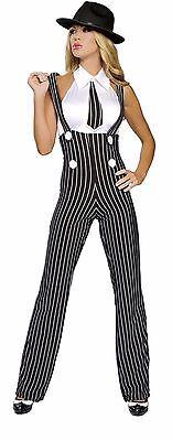 Roma Gangsta Mama Gangster Mafia Black & White Pinstripe Pant Set Costume 4109