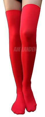 AM Landen®RED Ladies' Over Knee Highs Solid Opaque Socks - Over Red Square