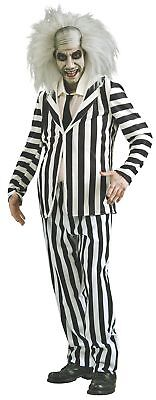 Men's Adult Beetlejuice Costume and Wig for Halloween Party Cosplay Black White (Black And White Halloween Costumes For Men)