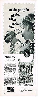 PUBLICITE ADVERTISING   1965   MATTEL  jouets poupée qui parle