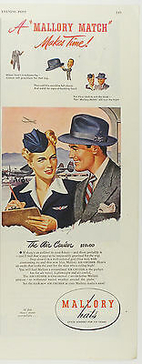 """Vintage 1946 MALLORY HATS Half-Page Large Magazine Print Ad """"The Air Crusier"""""""