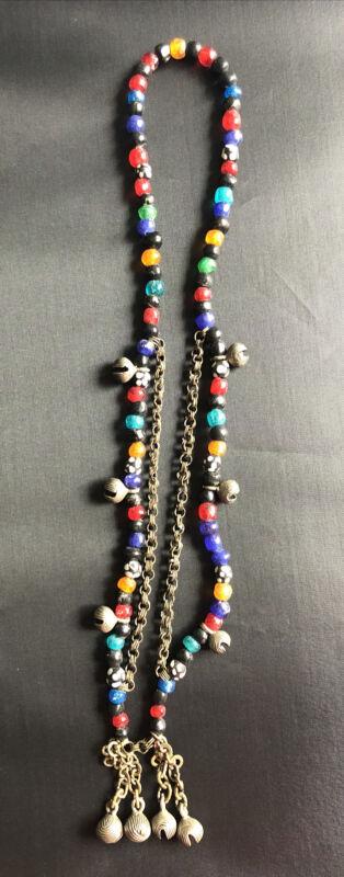 Antique Plastic Beads, Brass, Bells, Necklace