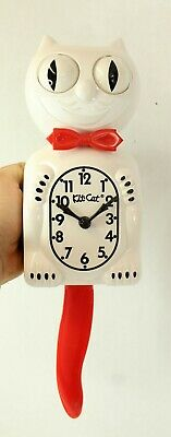 """CANDY CANE KIT CAT CLOCK 15.5"""" Red White Kit-Cat Klock Free Battery Made in USA"""