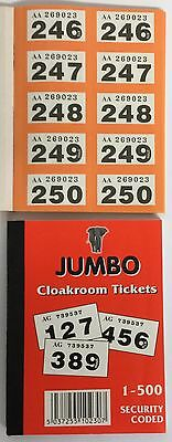 Jumbo Raffle Cloakroom Tickets 1-500 EASY TEAR GOOD QUALITY PAPER VERY CHEAP!!!