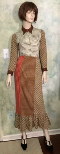 Vintage 70's Knit Maxi Top and Skirt Set by Kelita Size S