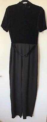 Black Jumpsuit Velvet Belt Vintage Evening Party Victoria Stephens 14 Costume