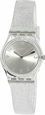 Swatch Women's Silver Glistar LK343E Clear Silicone Swiss Quartz Dress Watch