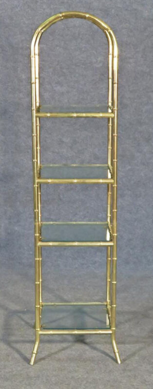 French Arched Bagues Style Petite Faux Bamboo Brass Etagere Shelf, Circa 1950s
