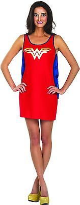 NEW Wonder Woman Tank Dress Superhero Halloween Sexy Adult Costume Cape Stars L - Adult Wonder Woman Halloween Costume