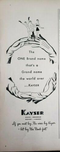 Lot of 2 Vintage 1948 Kayser Gloves Print Ads Ephemera Art Decor