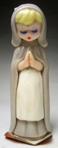 """Vintage Gurley Thanksgiving Novelty Candle Praying Pilgrim Lady 6 ¾"""" tall 1950"""