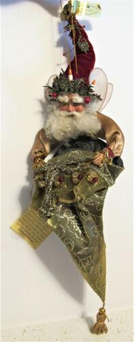 "Ltd Edition MARK ROBERTS Santa Fairy Elf Cone Stocking 15"" Christmas Ornament"