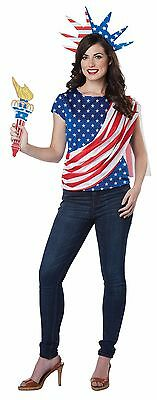 Patriotic Statue Of Liberty Miss Independence America Costume Adult Women (Patriotic Costumes For Women)