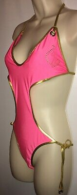 Baby Phat Hot Pink & Gold Women's Small Monokini 1pc Swim Suit Rhinestone Cat S](Pink Guy Suit)