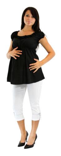 Black Maternity Outfit Capri Solid Pregnancy