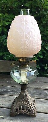 Old Vintage Antique English Make Oil Lamp Pale Pink Daisy Embossed Glass Shade