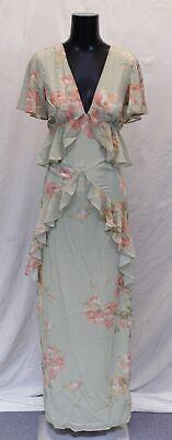 Hope & Ivy Women's Ruffle Floaty Maxi Dress With Open Back SV3 Green US:4 UK:8