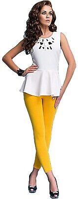 Damen bequeme Leggings Leggins blickdicht lang gelb Gr S-XXL Rock Kleid - Bequeme Kostüm