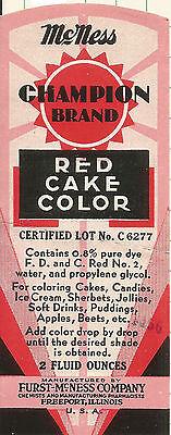 Label-CHAMPION red cake color.FURST-McNESS Co,Freeport,IL. original= melaneybuy