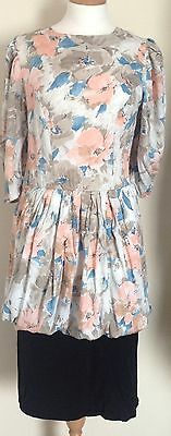 Vintage 1980s C & A Dress with Floral Print Size 12 in Good Condition