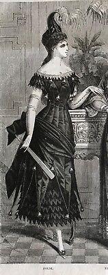 MODE ILLUSTREE SEWING PATTERN  Jan 21,1877- MASQUERADE COSTUMES, FAYE DRESS,