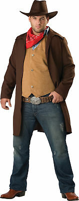 Rawhide Renegade Adult Plus Mens Costume Cowboy Duster Western Outlaw Ranger  - Western Outlaw Costume