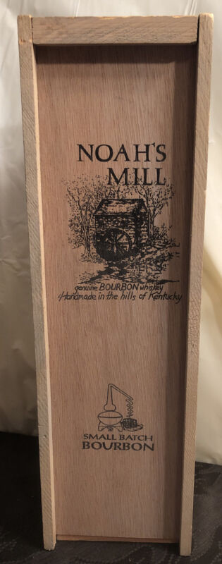 Vintage Noah's Mill Genuine Bourbon Whiskey Hand Made In Kentucky Wood Box Crate