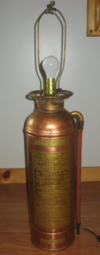 Antique Buffalo Copper Brass Fire Extinguisher Polished Lamp State of New York